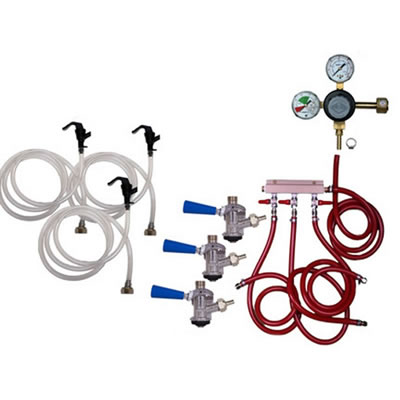 Party Keg Kit - 3 Faucet - Dual Gauge Taprite Regulator