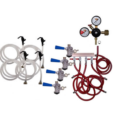 Party Keg Kit - 4 Faucet - Dual Gauge Regulator