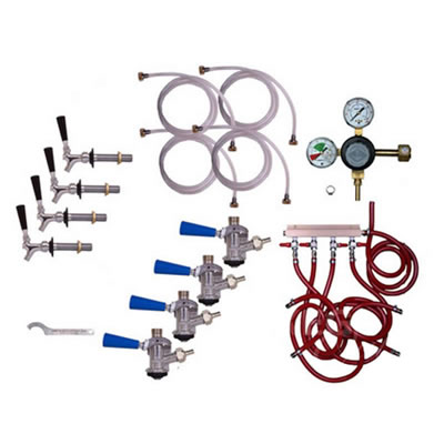 Refrigerator Commercial Keg Kit - 4 Faucet - Taprite Regulator