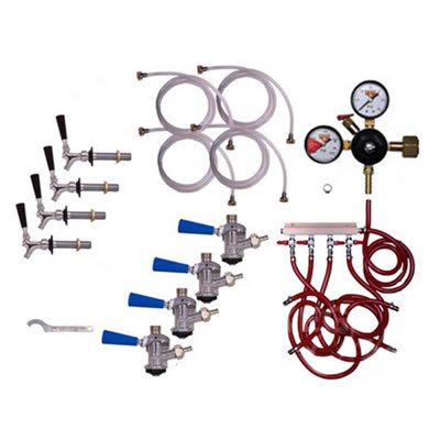 Refrigerator Commercial Keg Kit - 4 Faucet