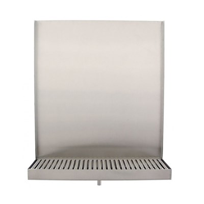 "13"" Wide Wall Mount Drip Tray with Backsplash and Drain"