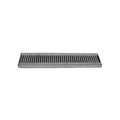 "12""x5"" Surface Mounted Drip Tray - Stainless Steel - With Drain"