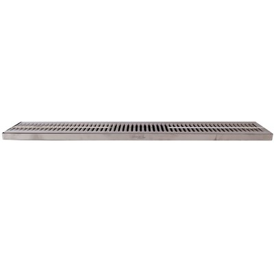 "30""x5"" Surface Mounted Drip Tray with Drain - Stainless Steel"