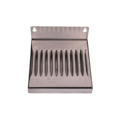 "6""x6"" Wall Mounted Drip Tray - Stainless Steel - with Drain"