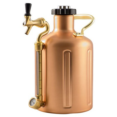 GrowlerWerks Pressurized Copper Growler with Faucet - 128 oz
