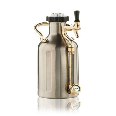 GrowlerWerks Pressurized Stainless Steel Growler with Faucet - 64 oz