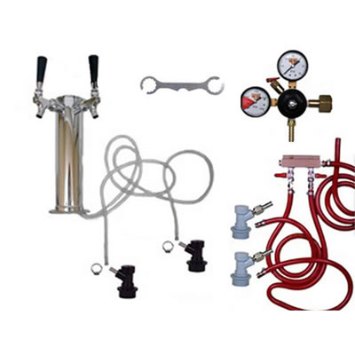 2 Faucet Tower Keg Kit - BALL LOCK