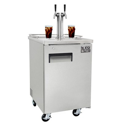 Cold Brew Coffee Commercial Grade Kegerator - Dual Faucet (Silver/Ball Lock)