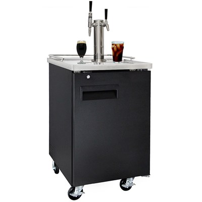 Nitro Coffee & Iced Coffee Dual Tap Commercial Grade Kegerator (Black/Ball Lock)