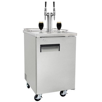 Nitro Coffee Commercial Grade Kegerator - Dual Stout Faucets (Silver/Ball Lock)