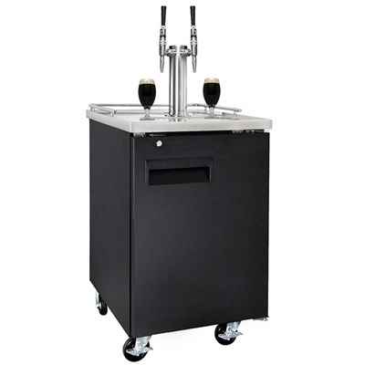 Nitro Coffee Commercial Grade Kegerator - Dual Stout Faucets (Black/Ball Lock)