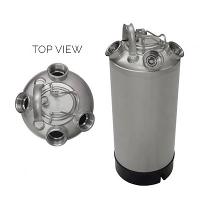 5 Gallon Line Cleaning Keg (Sanke D) 4 Heads with Removable Lid