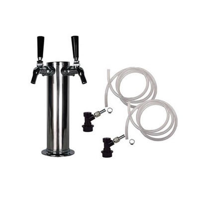 Beer Tower - 2 Perlick 630SS Faucets - Homebrew Ball Lock