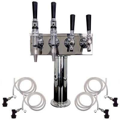 4 Faucet Cold Brew Coffee Draft Tower - 2 Cold Brew & 2 Nitro