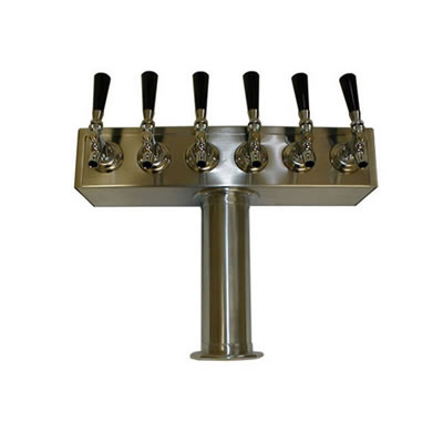 Beer Tower - 6 Faucets - Stainless Steel