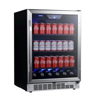 24 Inch Wide 142 Can Built-In Beverage Cooler with Tinted Door and LED Lighting