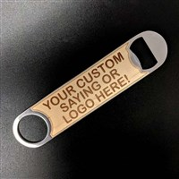 Bartender Bottle Opener with Custom Engraved Logo / Bartender Bottle Opener - Keg Outlet Wood Veneer