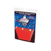 Open Bottle Here Opener and Red Cap Catcher /