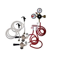 Party Keg Kit - 2 Faucet - Dual Gauge Regulator /