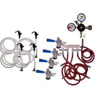 Party Keg Kit - 4 Faucet - Dual Gauge Regulator /