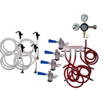Party Keg Kit - 4 Faucet - Dual Gauge Taprite Regulator /