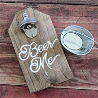 "Wall Mounted Bottle Opener ""Beer Me"" w/ Cap Catch Pail"
