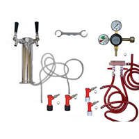 2 Faucet Tower Keg Kit - Taprite Regulator - PIN LOCK /