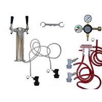 2 Faucet Tower Keg Kit - Taprite Regulator - BALL LOCK /