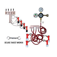 4 Faucet Tower Keg Kit - Taprite Regulator - PIN LOCK /