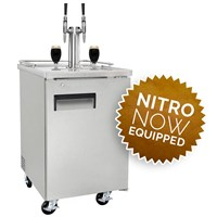 NitroNow Commercial Stainless Dual Faucet On-Demand Nitro Coffee Kegerator /