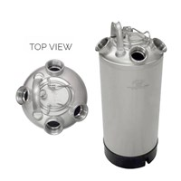5 Gallon Line Cleaning Keg (4 Port) with Removable Lid - No Valve /