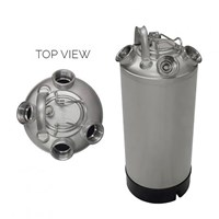 5 Gallon Line Cleaning Keg (Sanke D) 4 Heads with Removable Lid /