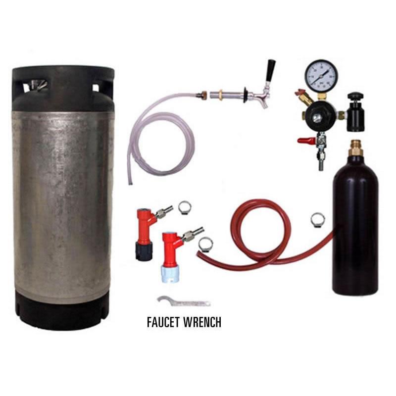 Draft Beer Refrigerator Keg Kit With 20oz Co2 Tank Pin