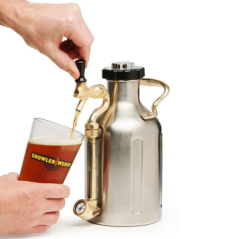 GrowlerWerks Pressurized SS Growler with Faucet - 64 oz
