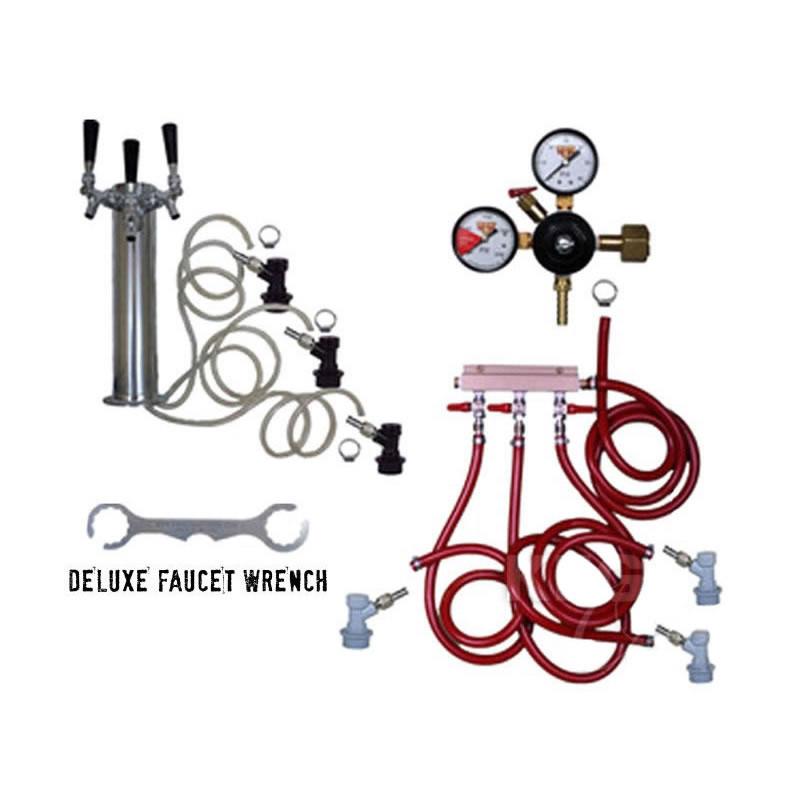 3 Faucet Draft Beer Tower Keg Kit Ball Lock