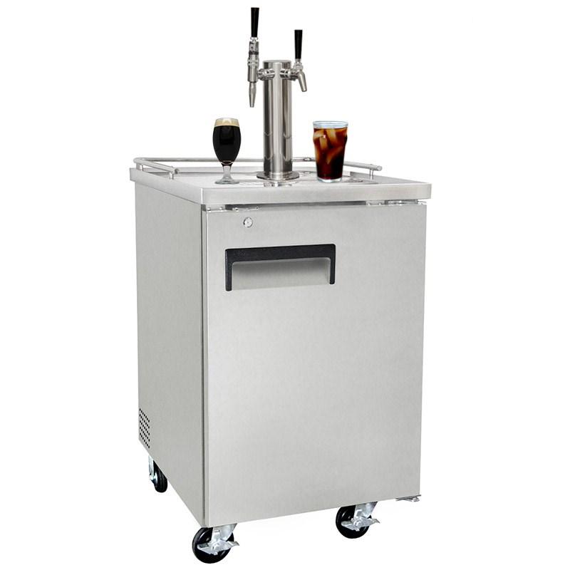 nitro coffee u0026 iced coffee dual tap commercial grade kegerator silverball lock