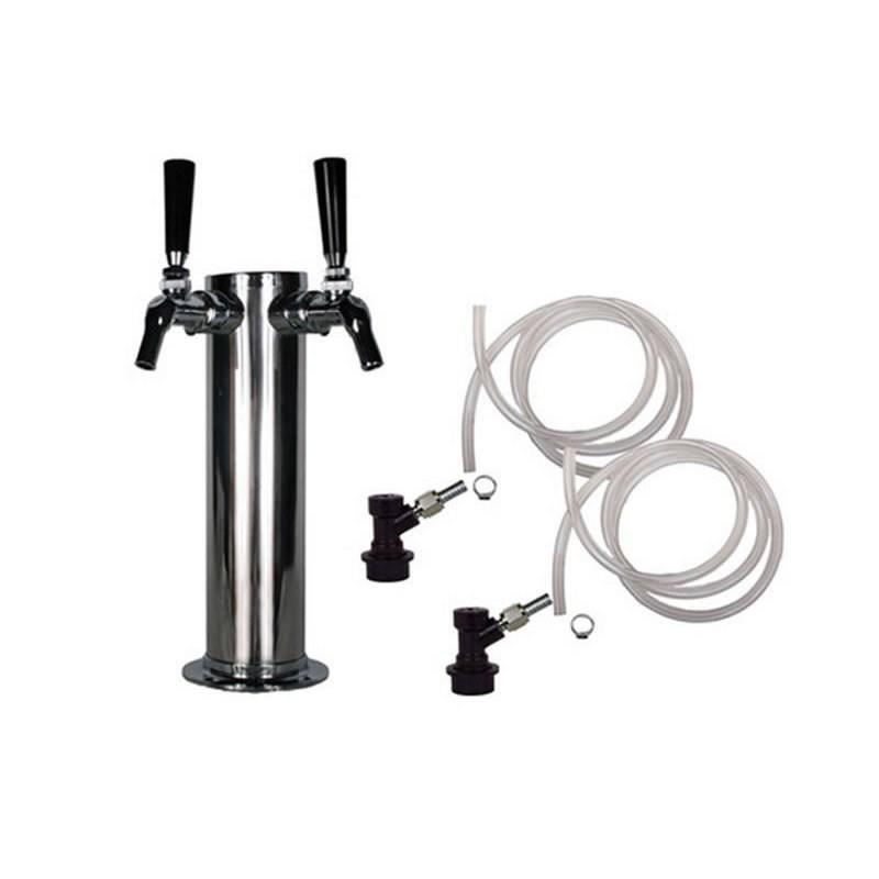 Draft Beer Tower - 2 Perlick 525SS Faucets - Ball Lock Keg