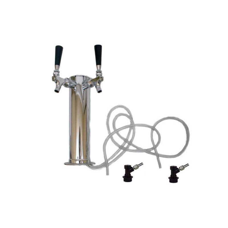 Draft Beer Tower - 2 Faucets - Ball Lock Keg